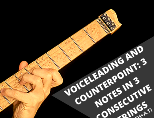 Voiceleading and counterpoint: 3 notes in 3 consecutive strings (3rd+7th+ A.T)